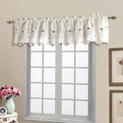 Loretta Embroidered Sheer Scalloped Valance - Blue