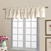 Loretta Embroidered Sheer Scalloped Valance - Chocolate