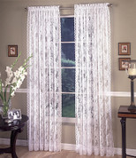 Monaco Lace Rod Pocket Curtain PAIR - Available in White or Ivory