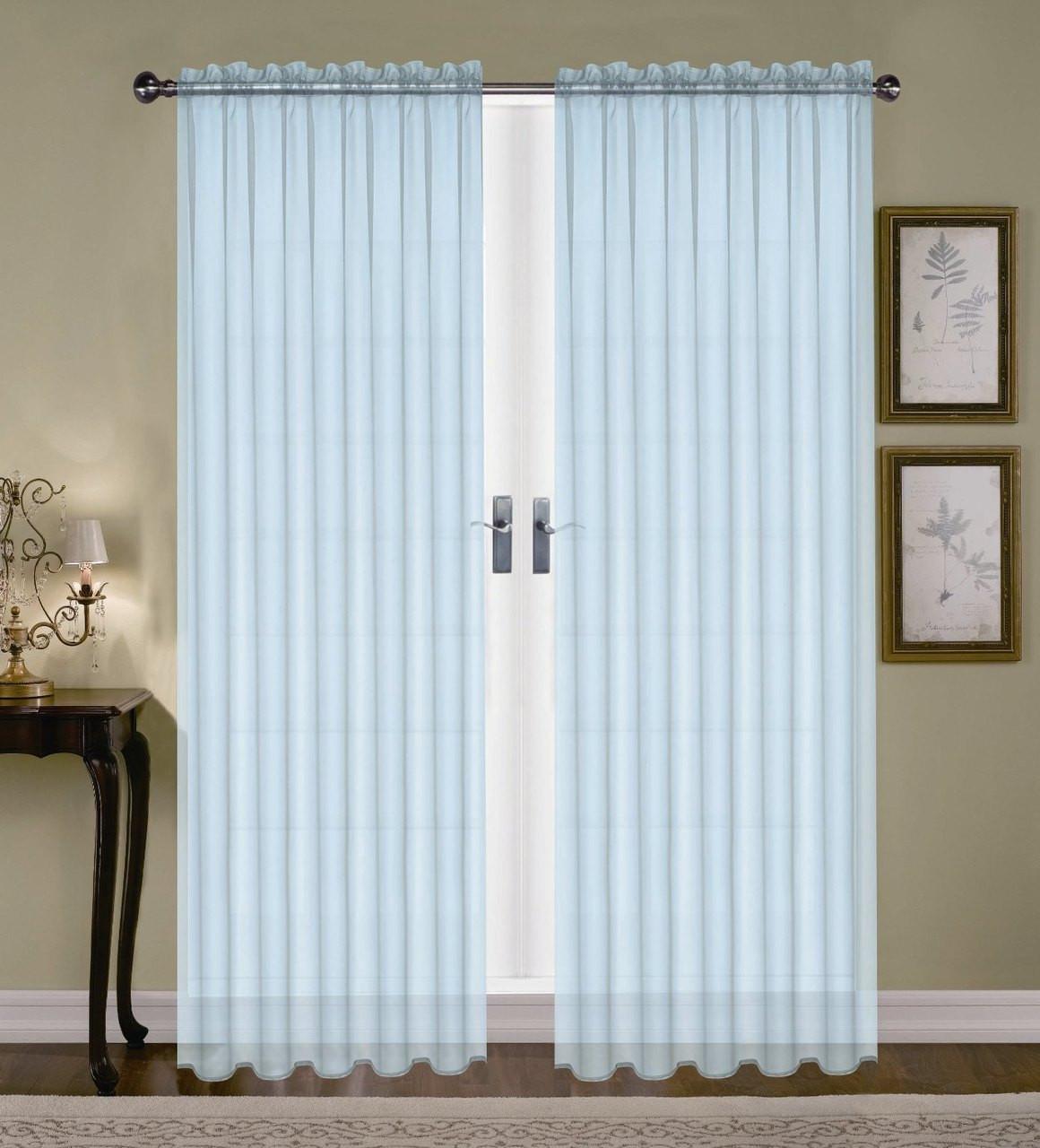 Monique Sheer Rod Pocket Curtain Light Blue