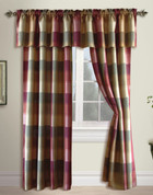 Plaid Rod Pocket Curtain Panel - BURGUNDY