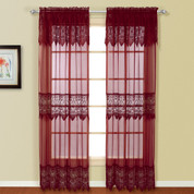Valerie Macrame Rod Pocket Curtain Panel - Burgundy