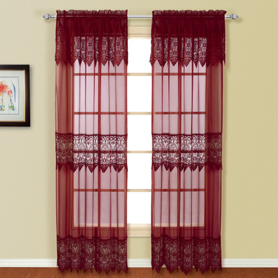 valerie macrame rod pocket curtain panel burgundy