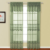 Valerie Macrame Rod Pocket Curtain Panel - Sage
