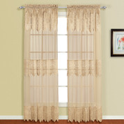 Valerie Macrame Rod Pocket Curtain Panel - Taupe