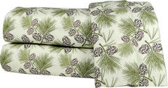 Micro Flannel 4pc Queen Size Sheet Set - Pinecones