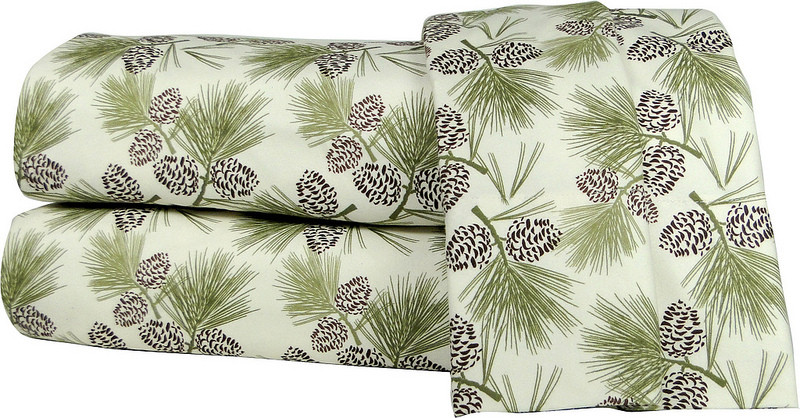 Micro Flannel 4pc King Size Sheet Set Pinecones