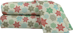 Micro Flannel 4pc Full Size Sheet Set - Snowflakes