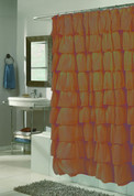 Carmen Ruffled Shower Curtain - Brown