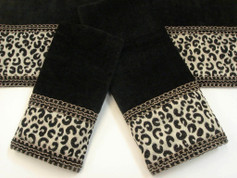 Cheetah Embellished 3pc Towel SET