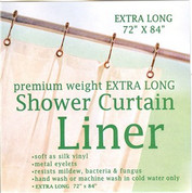 "Extra Long Premium Weight Vinyl Shower Curtain Liner 84"" long"