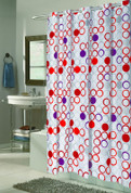 EZ On Shower Curtain - No Shower Hooks required - Bohemia
