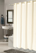EZ On Shower Curtain - No Shower Hooks required - Check - Ivory