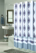 EZ On Shower Curtain - No Shower Hooks required - Harlequin