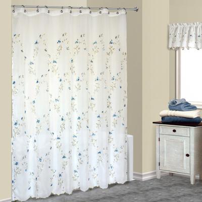 Loretta Sheer Embroidered Shower Curtain Blue