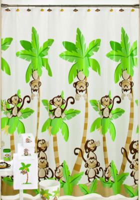Monkey Town - Vinyl Shower Curtain