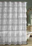 Priscilla Lace Ruffled Shower Curtain - White