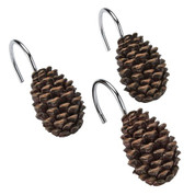 Silhouette Lodge pine cone shower curtain hooks