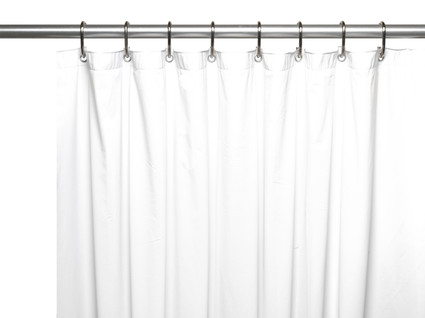 Solid Vinyl Shower Curtain Liner 3 gauge - White