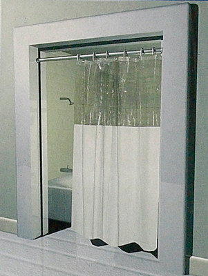 Great Stall Size Anti Bacterial Vinyl Shower Curtain   With Clear Top