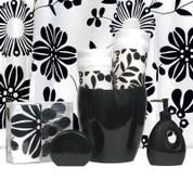 Vibes BLACK - Vinyl Shower Curtain and Hooks SET