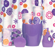 Vibes LILAC - Vinyl Shower Curtain and Hooks SET