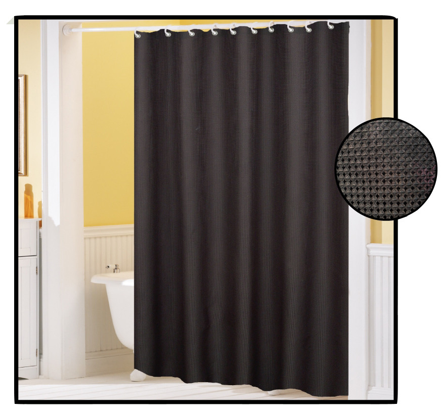 Waffle Weave FABRIC Shower Curtain BLACK Linens4Less