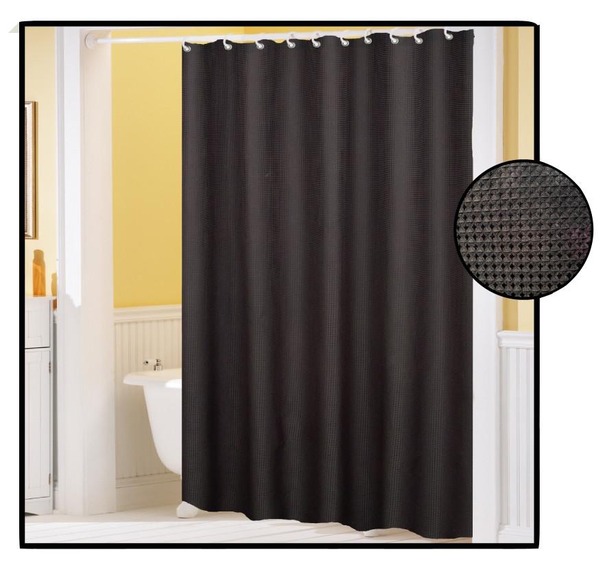 waffle weave fabric shower curtain black