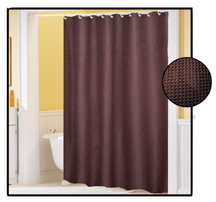 waffle weave fabric shower curtain brown. Black Bedroom Furniture Sets. Home Design Ideas