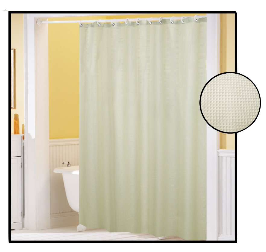 waffle weave fabric shower curtain ivory