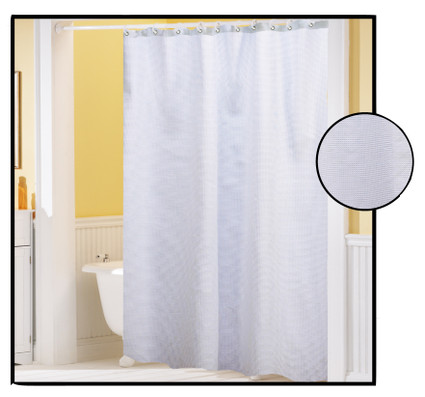 Waffle Weave FABRIC Shower Curtain WHITE Linens4Less