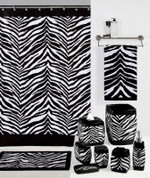 Zebra Black - Fabric Shower Curtain