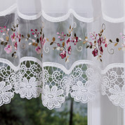 Vintage rose embroidered kitchen curtain