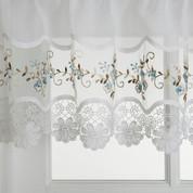 Vintage blue embroidered kitchen curtain
