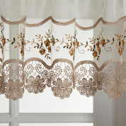 Vintage gold embroidered kitchen curtain