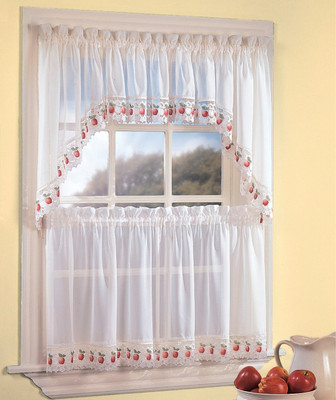 Apple Orchard sheer kitchen curtain