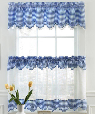 Curtains provence gingham kitchen curtains available in blue red