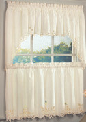 Battenburg Lace Cotton Kitchen Curtain - Ecru