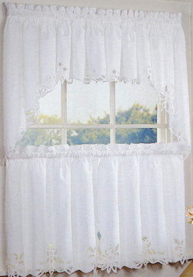 Battenburg Lace Cotton Kitchen Curtains - White
