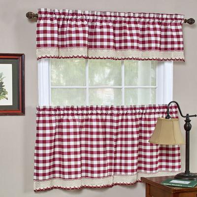 Delightful Buffalo Check Kitchen Curtain   Burgundy