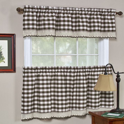 Buffalo Check Kitchen Curtain - Chocolate Brown