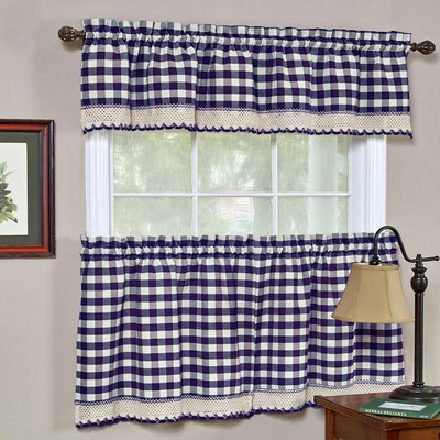 Buffalo Check Kitchen Curtain - Navy - Linens4Less.Com