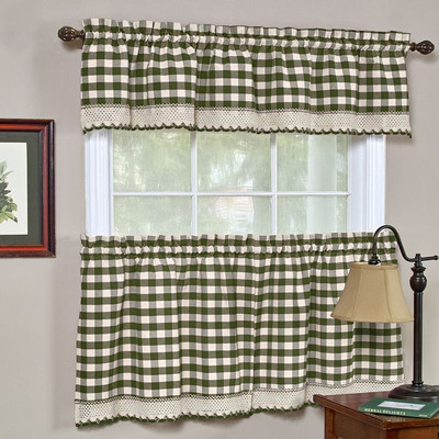 Buffalo Check Kitchen Curtain - Sage Green