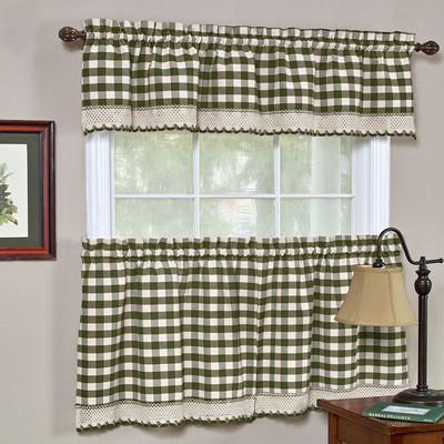 Buffalo Check Kitchen Curtain   Sage Green