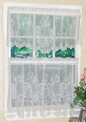 Cameo Rose Lace Kitchen Curtains - Available in White or Ivory