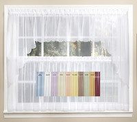 Emelia Sheer Solid Kitchen Curtain - Available in 11 Colors