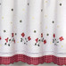 Gingham Floral Kitchen Curtain - Red