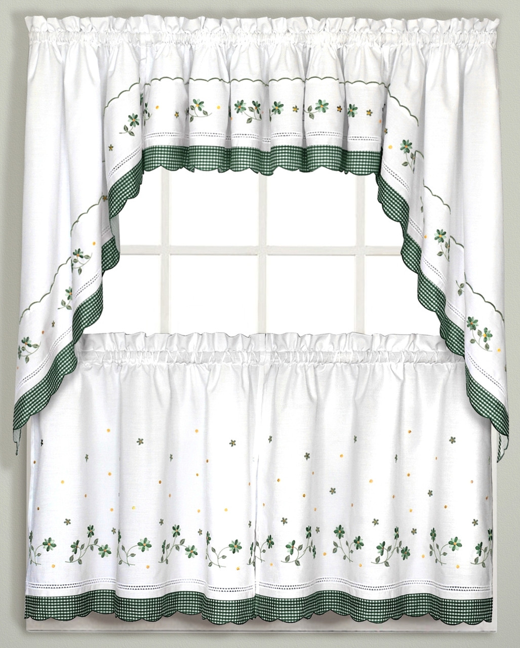 Gingham Floral Kitchen Curtain