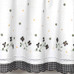 Gingham Floral Kitchen Curtain - Black
