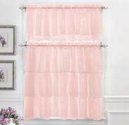 Gypsy Ruffled Kitchen Curtain - Pink